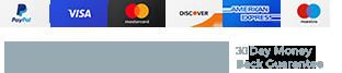 Paypal | Visa | MasterCard | AmerkanExpress | Discover | Windows | Mac | 14 Day Money-Back Guarantee